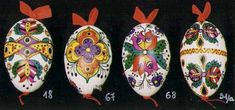 Hungarian Easter eggs by Huszákné Czencz Marietta.  These are made using paint and a brush.