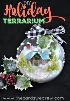DIY Holiday Terrarium! Such a great gift idea for teachers, neighbors and friends!