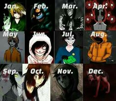 Which creepypasta are you according to your birth month? I got eyeless jack who was the second creepypasta ive ever read! Creepypasta Quotes, Scary Creepypasta, Creepypasta Proxy, Lost Silver Creepypasta, Hoodie Creepypasta, Familia Creepy Pasta, Creepy Pasta Family, Tv Anime, Anime Plus