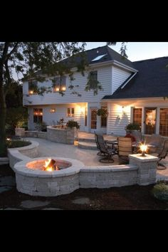 Back yard fire pit and stone patio