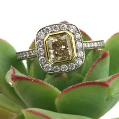 2.20ct Fancy Yellow Radiant Cut Diamond Engagement Anniversary Ring