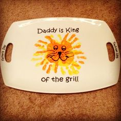 """King of The Grill"" Handprint Platter #pottery #boulder #handprints #colormemine"