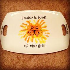 """King of The Grill"" Handprint Platter #pottery #boulder #handprints #colormemine"