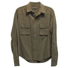 Pre-Owned Chrome Hearts Army Green Cotton With Fluer De Lis Buttons... (16.280 CZK) ❤ liked on Polyvore featuring tops, shirts, cotton shirts, olive green button down shirt, army green top, button up top and olive button down shirt