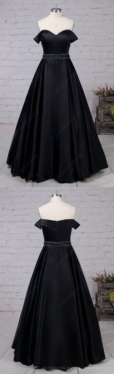 Long Prom Dresses,Black Prom Dresses,2018 Prom Dresses Modest,Satin Prom Dresses Off-the-shoulder, Princess Prom Dresses Beading #ballgowns