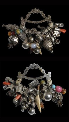 Brazil | Silver and coral talismanic Balanganda | Bahia, 19th century || Sold