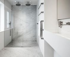 Wet room ideas - Create a light and spacious wet room with a clean finish. #wetroom #shower #design #walkinshower