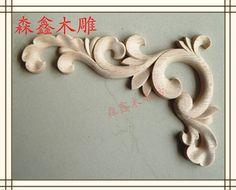 Dongyang wood carving corner flower applique smd motif pure solid wood fashion corners furniture engingeering decoration 17cm