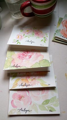 With names. Watercolor thank you cards.  Elbaquarella on Instagram.