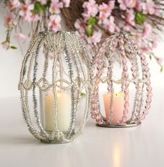 Beaded Lamp Shade-An Amazing Piece for Your Easter Decor #diy #howto