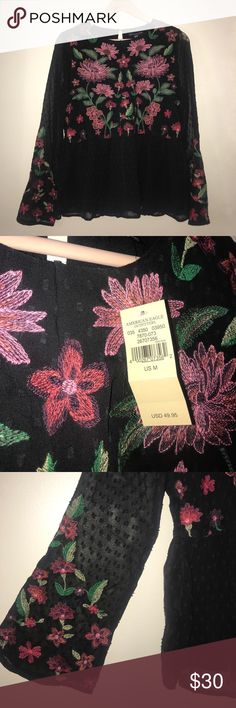 Beautiful Black Floral Blouse Never worn, gorgeous design American Eagle Outfitters Tops Blouses