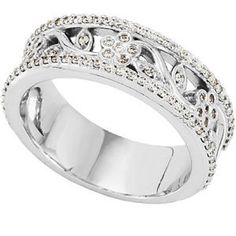 White Yellow or Rose Gold Diamond Flower Vine Leaf Bridal Anniversary Wedding Band Ring. $1,585.00, via Etsy.