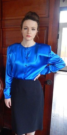 'Why have you been sent to me again, Wilkins? Satin Top, Silk Satin, Tight Pencil Skirt, Librarian Style, Professional Wear, Power Dressing, Green Satin, Blue Green, Blouse And Skirt