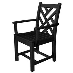 Outdoor POLYWOOD® Chippendale Recycled Plastic Dining Arm Chair Black - CDD200BL