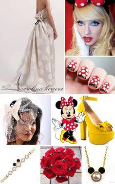 Minnie Mouse Bride Inspiration Board.    Vendors: Wedding Dress: Carolina Herrera/Bridal Bouquet: Northwest Bridal/Nails: Spektor's Nails/Jewelry: Disney Couture Mouse Necklace and Bracelet/Makeup: Monroe Misfit Makeup/Shoes: Heels.com/Veil: Etsy