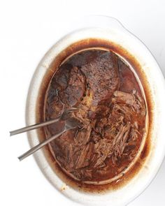 Slow Cooker Beef Ragu - Martha Stewart - Served over pasta or polenta, or in sandwich rolls, this simple meat dish becomes a star. Best Slow Cooker, Slow Cooker Beef, Slow Cooker Recipes, Beef Recipes, Cooking Recipes, Cooking Tips, Slower Cooker, Recipies, Cookbook Recipes