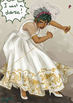 Part 1/2 <----- I s this Percy? Leo? Nico?/ Neither one, its Alex Fierro, looking bake in (at the moment her) wedding dress