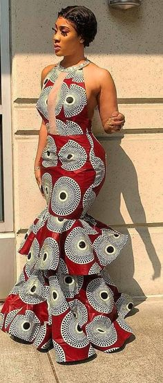 ankara mode The listing in your view features an Elegant hand tailored show stopping floor length mermaid gown. It is a modern Women's Afro Cosmopolitan gown for the classy lady and the la Latest African Fashion Dresses, African Print Dresses, African Print Fashion, Africa Fashion, African Dress, African Prints, Ankara Fashion, African Fabric, Nigerian Fashion