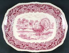 Pink and white Turkey Platter by Rowland Turkey Plates, Turkey Dishes, Green And Brown, Red And White, Christmas Dinnerware, Bountiful Harvest, Antique Dishes, Holiday Candy, Homer Laughlin