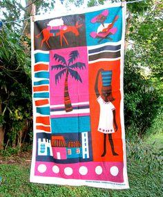 Vintage Tea Towel Hand Printed Venezuela Design by hensfeathers