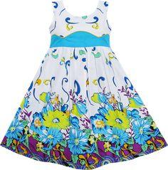 Girls Dress Cornflower Blue Wave Lined Summer Camp Size 4-12 Years