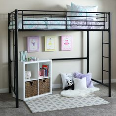 Home Loft Concepts Metal Twin Loft Bed with Built-In Ladder & Reviews | Wayfair