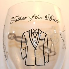 Father of the Bride Painted Wine Glass Wedding by FlutterbyGlass, $44.00