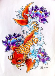 koi lotus, love the look of the water in this one... Not your traditional style oriental waves at all