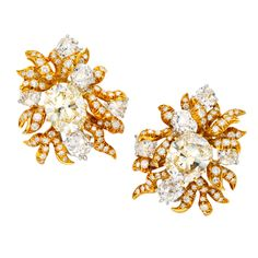 JULIUS COHEN Magnificent Diamond and Gold Flower Earclips   From a unique collection of vintage clip-on earrings at https://www.1stdibs.com/jewelry/earrings/clip-on-earrings/