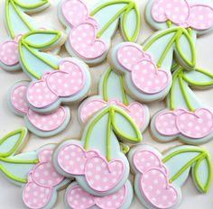 Cute cherry sugar cookie cutouts. Very sweet looking in pink polkas!