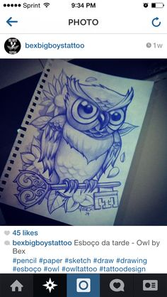 Owl tattoo with skeleton key - but i would want it to be a more feminine owl and less angry :)