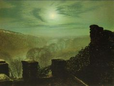 Full Moon behid Cirrus Cloud from the Roundhay Park Castle Battlements, 1872. By John Atkinson Grimshaw.