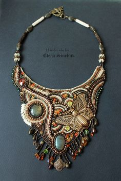 Elena Sinelnik #beadwork bead embroidered necklace with brass butterfly