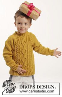 "Knitted DROPS jumper with raglan and cables in ""Merino Extra Fine"". Size 2-10 years ~ DROPS Design"