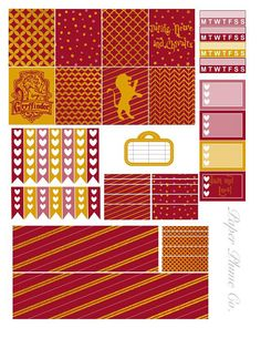 Printable Harry Potter Gryffindor Planner Stickers by PaperPlumeCo