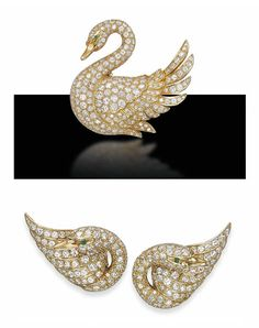 A SET OF DIAMOND AND GOLD JEWELLERY, BY VAN CLEEF & ARPELS   Comprising a brooch designed as a pavé-set diamond swan in profile, with emerald eye, a pair of ear clips en suite, brooch 5.5 cm, ear clips 3.3 cm, with French assay marks for gold  All signed Van Cleef & Arpels, nos. M36824 (brooch) and M35723 (ear clips)
