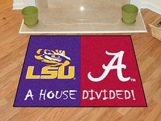 No one ever said your household had to cheer for only one team. Keep this LSU - Alabama College House Divided Mat by Fanmats in your home to let your loved ones and guest know your team is not to be reckoned with! Lsu Alabama, University Of Alabama, Alabama Crimson Tide, Discount Shopping Sites, Airplane Design, Nylon Carpet, House Divided, Lsu Tigers, Time Shop