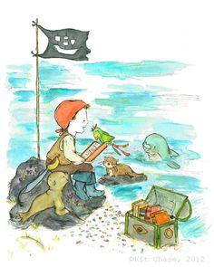 Pirate Book Club -- 8x10 Archival Print -- Children's Art. $20,00, via Etsy.    Chambre J