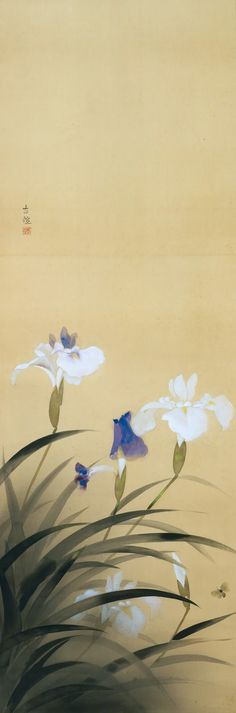 Iris Laevigata / 燕子花, ca 1935, Kobayashi Kokei / 小林古径. Japanese (1883 - 1957) by hazel