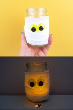 Looking for an easy way to decorate this Halloween? These easy mummy jar lights are simple and require hardly any materials to make! Jar Lights, Drink Bottles, Lily, Halloween, Simple, Check, How To Make, Decor, Decorating