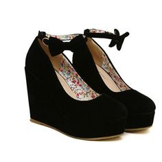 Sexy Buckle Strap High Heel Shoes. Black Wedge Platform. Visit our shop for beautiful personalized jewelry that will absolutely finish your look: https://www.etsy.com/shop/acharmedimpression