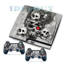 HOT Amazing Skull Stickers Skins Decals for PS3 Slim & 2 Games Controller Skins #UnbrandedGeneric #Skull