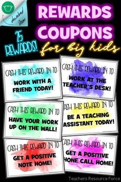 Your students will really enjoy being rewarded with these teenage appropriate coupons of free treats! They are the same size as standard index cards decorated in watercolor theme. These work for any class and any subject and they are so simple to use! Reward Coupons, Free Rewards, Teacher Quotes, Teacher Humor, School Resources, Teacher Resources, Classroom Reward System, School Direct, Student Rewards