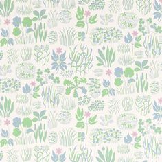 Josef Frank equipped himself with books about herbs and flowers. Then he created beautiful print compositions such as the Söndagsmorgon wallpaper. - Wallpaper Sample Söndagsmorgon, Non-Woven, Söndagsmorgon, Pink, Josef Frank Wallpaper Online, Wallpaper Samples, Pattern Wallpaper, Powder Room Wallpaper, Adhesive Wallpaper, Green Wallpaper, Kids Wallpaper, Josef Frank, Cole Son