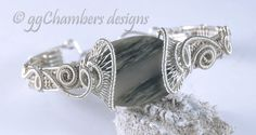 Sterling Silver and Green Line Jasper Woven Wire Helix Series Bracelet