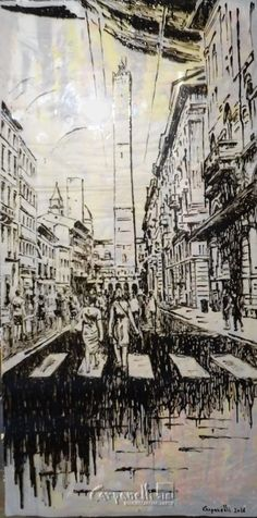 Bologna: Andando verso le due Torri smalto su plexiglas