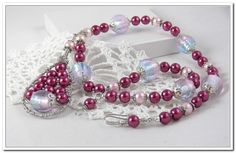 Cranberry Glass Pearl Necklace  Pink Glass by UpNorthGalCreations Great romantic pearl necklace.    Come by my shop and see all my creations.   Items added daily.