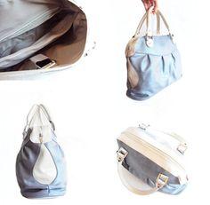 Leather Handbag Satchel Purse Light  Blue Tote Bag by RenaBags, $125.00