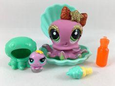 Littlest Pet Shop Cute Glitter Octopus #2140 w/Teensie, Clam Shell & Accessories #Hasbro