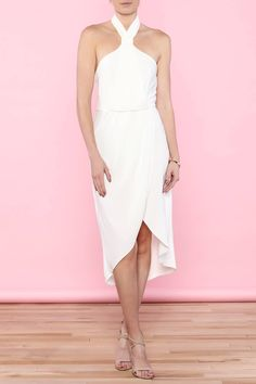 White halter top midi dress with front slit and exposed zipper closure.   White Midi Dress by essue. Clothing - Dresses - Midi Clothing - Dresses - Cocktail New Jersey